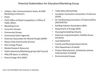 Potential Stakeholders for Education/Marketing Group