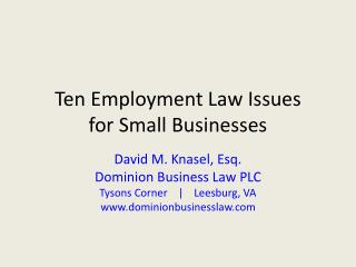 Ten  Employment Law  Issues for  Small Businesses