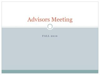 Advisors Meeting