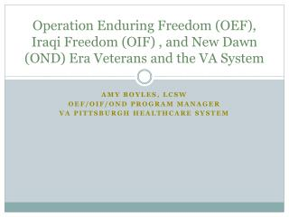 Operation Enduring Freedom (OEF), Iraqi Freedom (OIF) , and New Dawn (OND) Era Veterans and the VA System