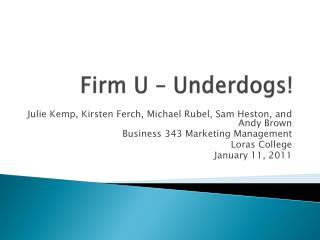 Firm  U – Underdogs!