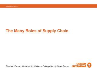 The Many Roles of Supply Chain