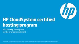 HP CloudSystem certified hosting program