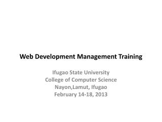 Web Development Management Training