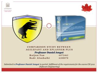 Comparison Study between Agilefant  and  xplanner  plus  Professor Daniel  Amyot Ruijun  Fan	 	 6472462 Badr Alsubaihi