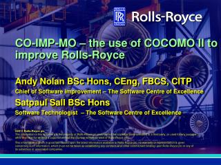 CO-IMP-MO – the use of COCOMO II to improve Rolls-Royce