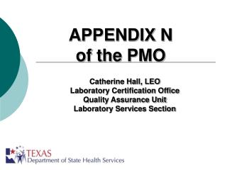 appendix n of the pmo