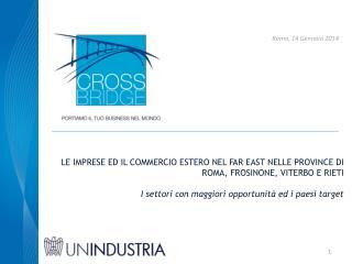 Le imprese ed il commercio estero nel far  east  nelle province di  roma ,  frosinone ,  viterbo  e  rieti