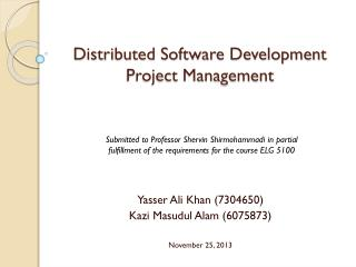 Distributed Software Development Project Management
