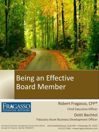 Being an Effective Board Member