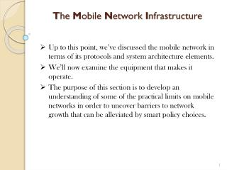 T he  M obile  N etwork  I nfrastructure