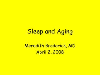 sleep and aging