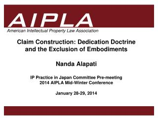 I. Dedication Doctrine