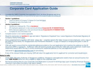 Corporate Card Application Guide
