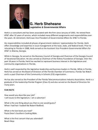 G. Herb  Sheheane Legislative & Governmental Affairs