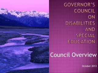 Governor's Council  on Disabilities and  Special education