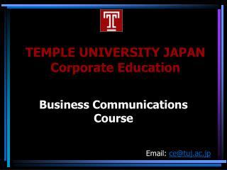 TEMPLE UNIVERSITY JAPAN Corporate Education