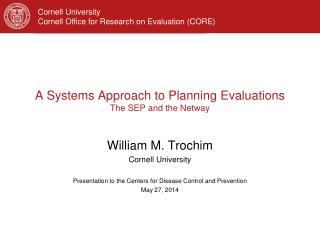 A Systems Approach to Planning  Evaluations The SEP and the Netway