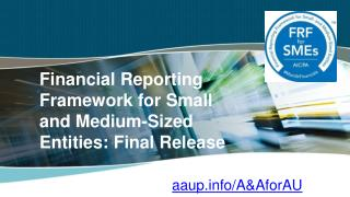 Financial Reporting Framework for Small and Medium-Sized Entities: Final Release