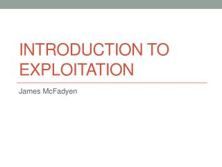 Introduction to exploitation