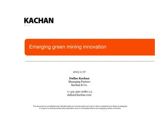 Emerging green mining innovation