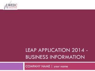 LEAP application 2014 - Business  INformation