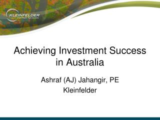 Achieving Investment Success in Australia