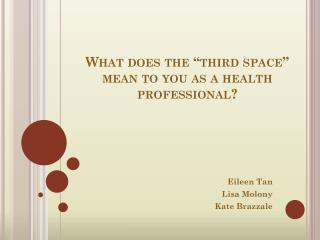 What does the �third space� mean to you as a health professional?