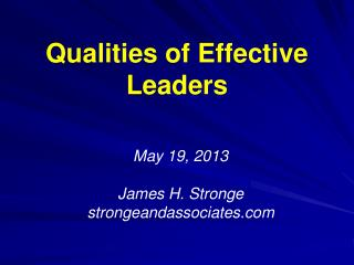 Qualities of Effective Leaders
