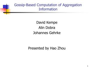 gossip-based computation of aggregation information