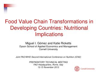 Food Value Chain Transformations in Developing Countries:  Nutritional  Implications