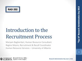 Introduction to the  Recruitment Process