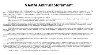 NAMM Antitrust Statement