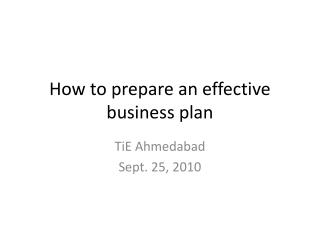 How to prepare an effective business plan