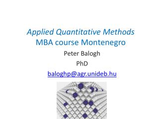 Applied Quantitative Methods MBA course Montenegro