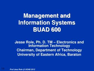 Management and Information Systems BUAD 600