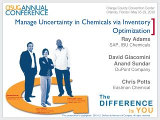Manage Uncertainty in Chemicals via Inventory Optimization