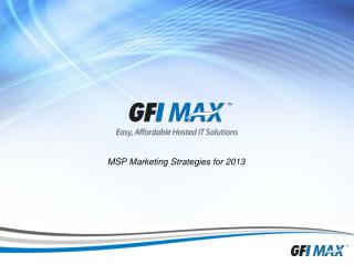 MSP  Marketin g Strategies for 2013
