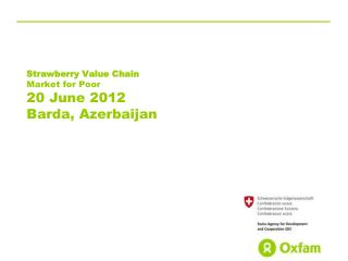 Strawberry Value Chain Market for Poor 20 June 2012 Barda , Azerbaijan