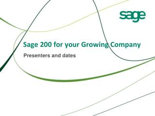 Sage 200 for your Growing Company