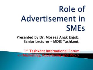 Role of Advertisement in SMEs