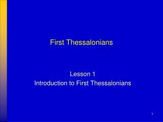 First Thessalonians
