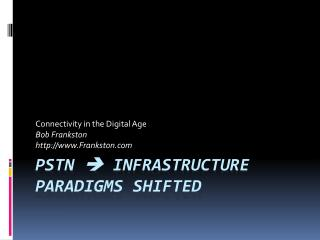 PSTN   Infrastructure Paradigms shifted
