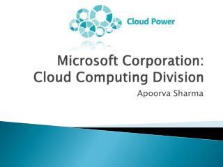 Microsoft Corporation: Cloud Computing Division