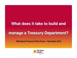 What does it take to build and manage a Treasury Department? AMInstitute Finance & Risk Forum – November 2012