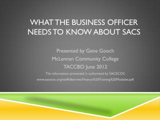 What the Business Officer Needs to Know about SACS