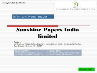 Sunshine Papers India limited