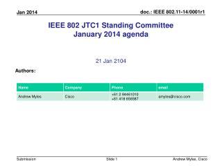 IEEE 802 JTC1 Standing Committee January 2014 agenda
