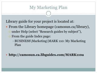 My Marketing Plan