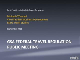 GSA Federal Travel Regulation Public Meeting